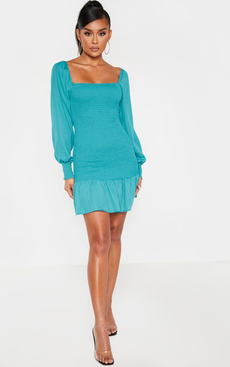 Emerald Green Puff Sleeve Shirred Bodycon Dress 4