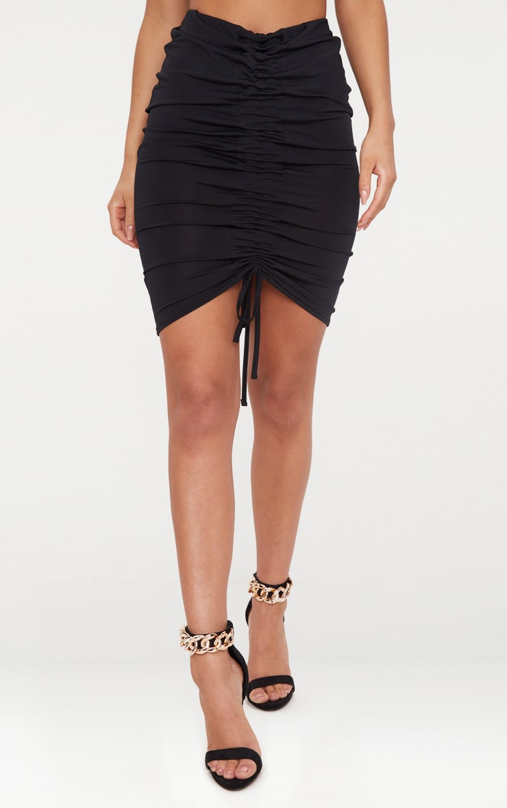 Black Slinky Ruched Front Midi Skirt 2