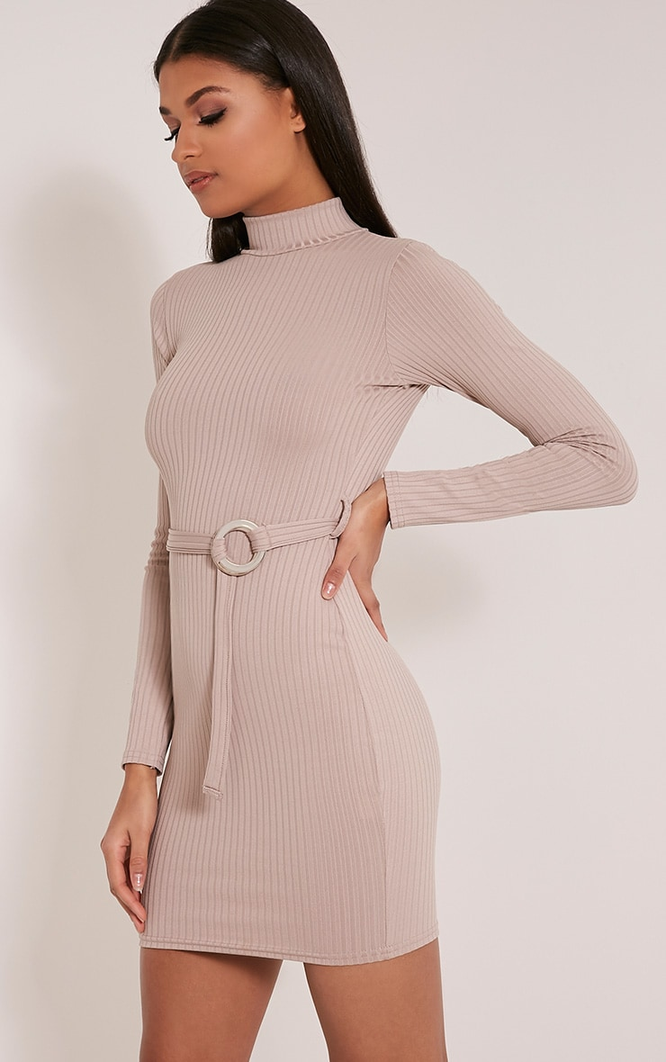 Mya Taupe Belt Detail Ribbed Bodycon Dress 4