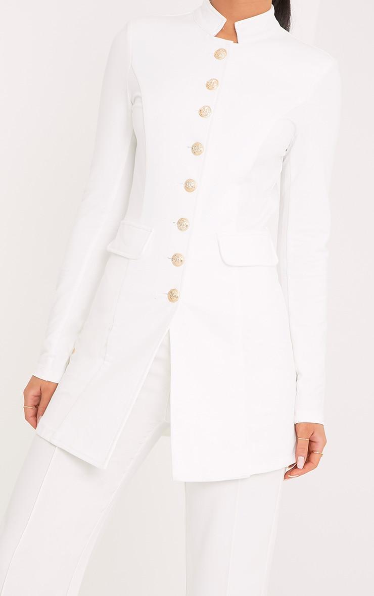 Deleana White Longling Military Style Jacket 5