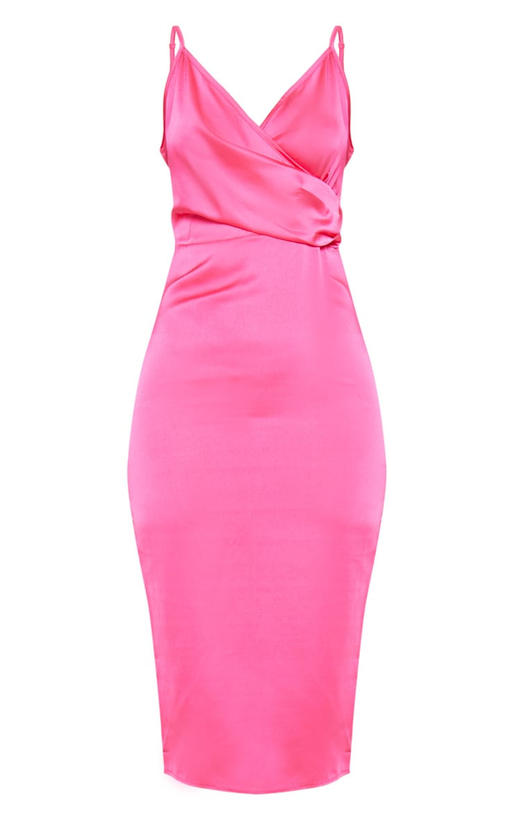 Hot Pink Satin Wrap Front Midi Dress 3