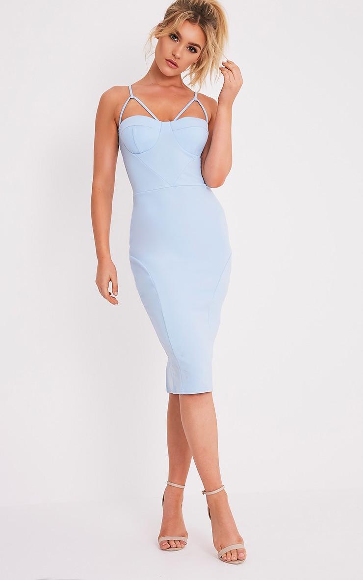 Carrie Dusty Blue Crepe Panel Midi Dress 1