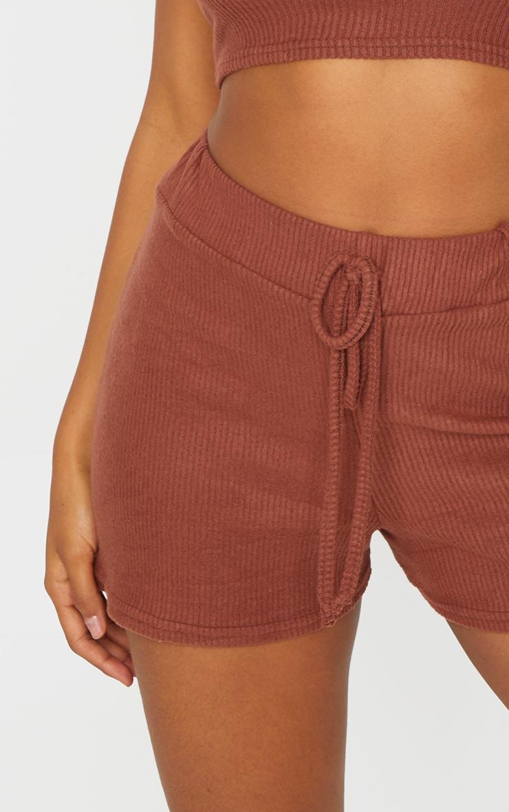 Brown Brushed Rib Floaty Shorts 5