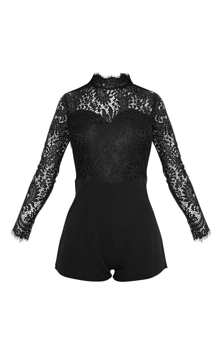 Black Lace Top Long Sleeved Playsuit 3
