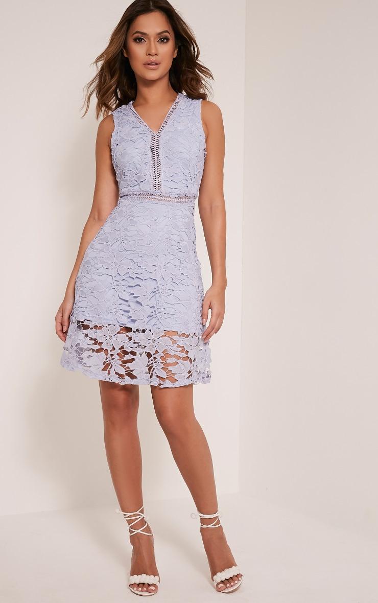 Roxy robe midi bleu pâle en dentelle crochetée 6