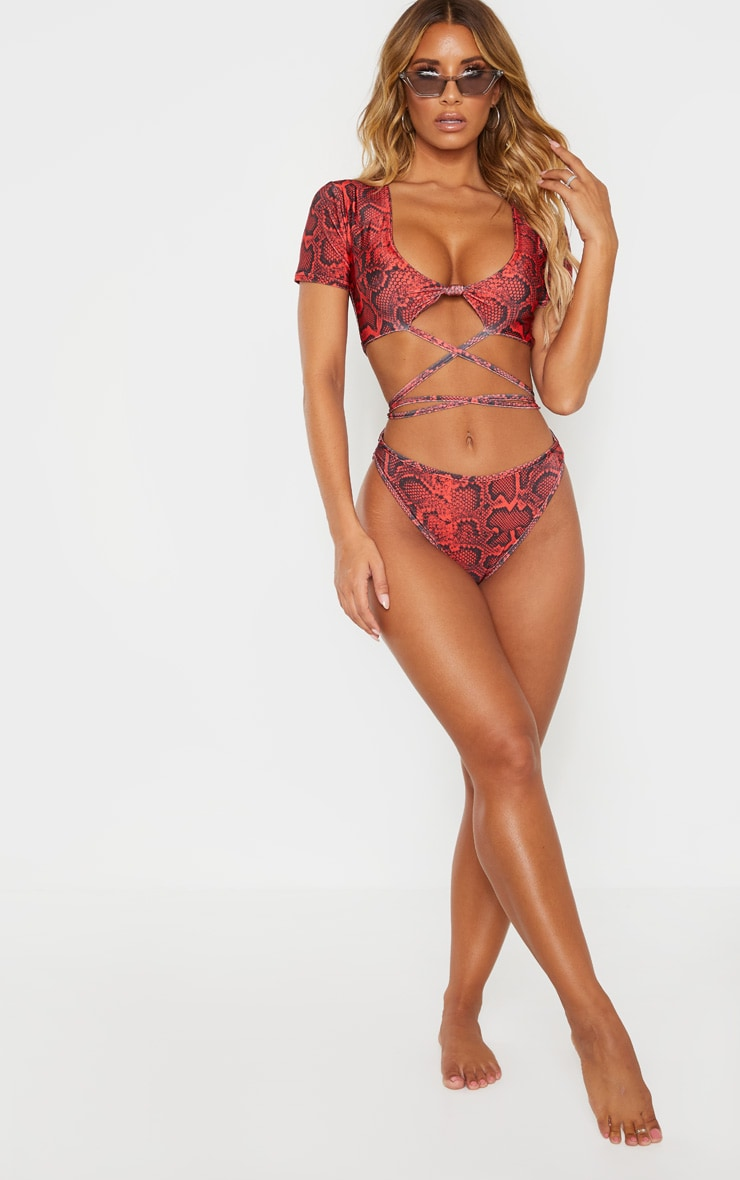 Red Snake Print High Cut Bikini Bottom 3