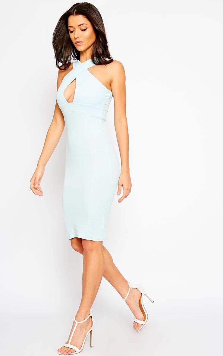 Courtney Mint Cross Front Midi Dress 3