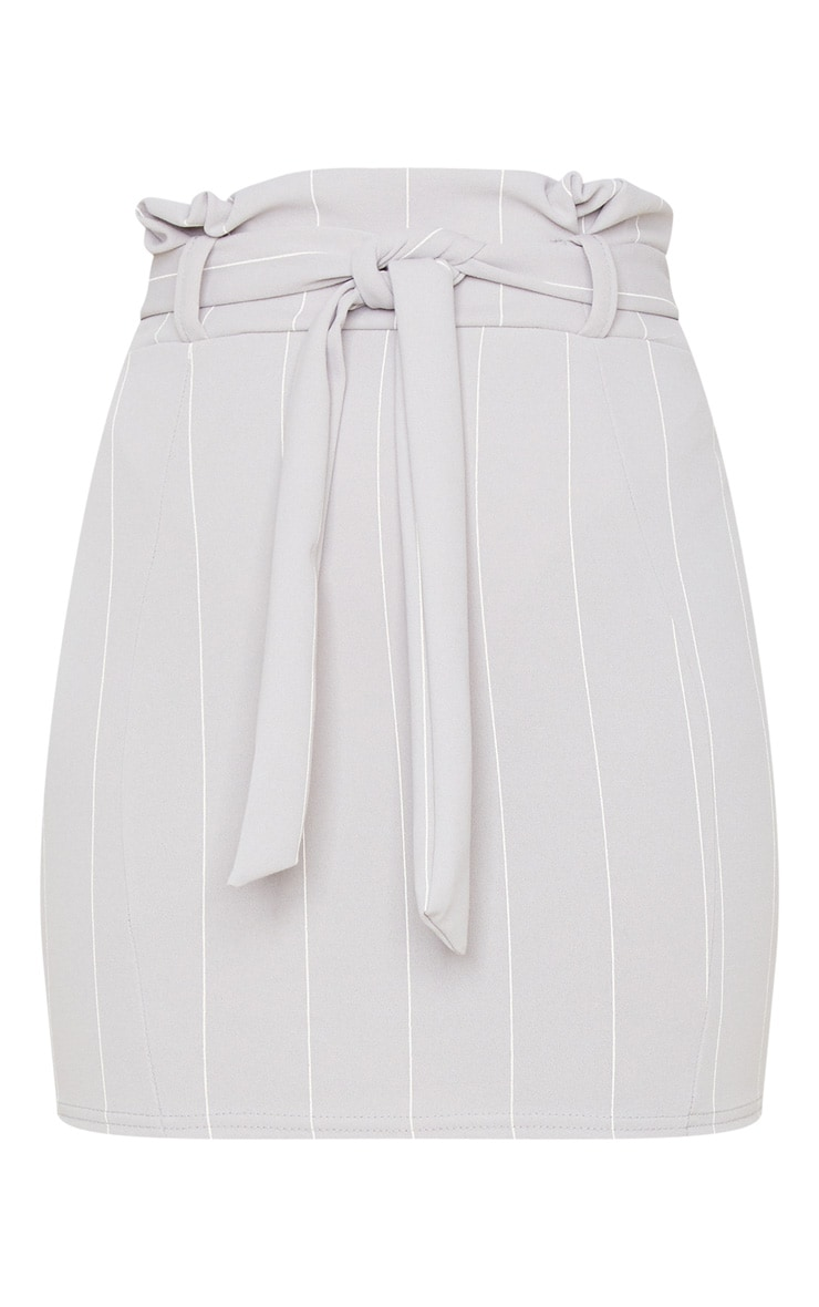Grey Pinstripe Tie Waist Mini Skirt 6