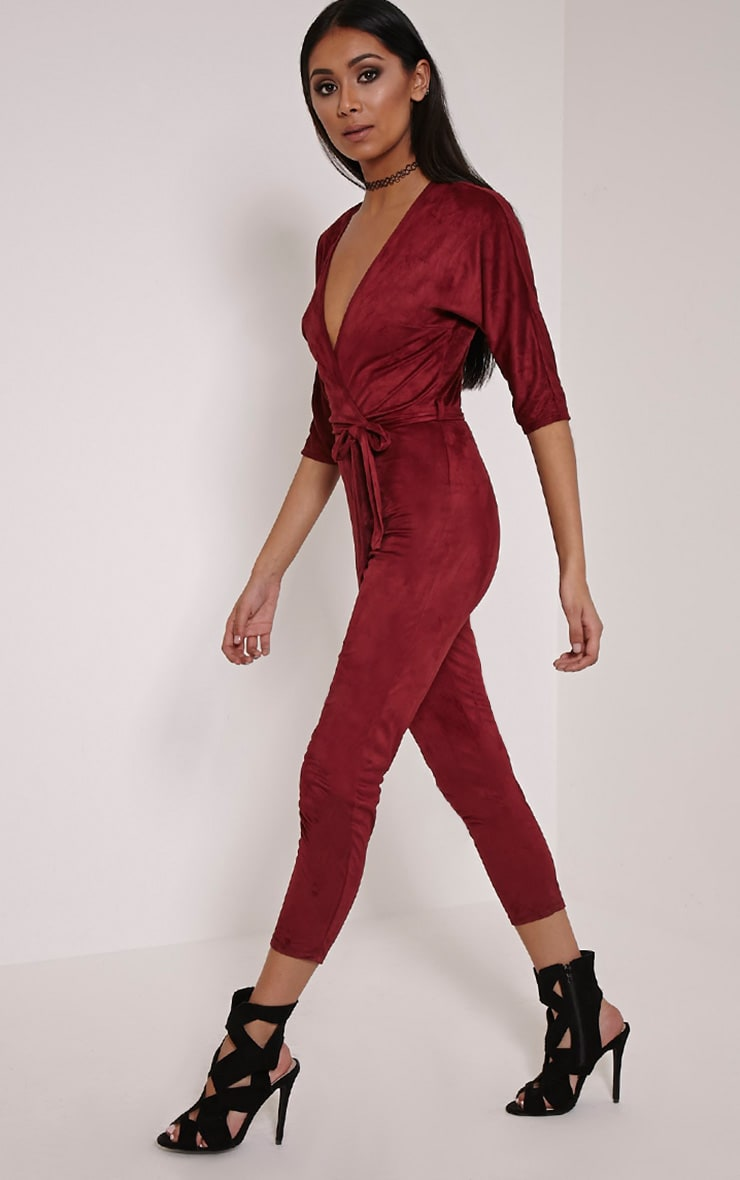 Maira Burgundy Suede Wrap Jumpsuit 3