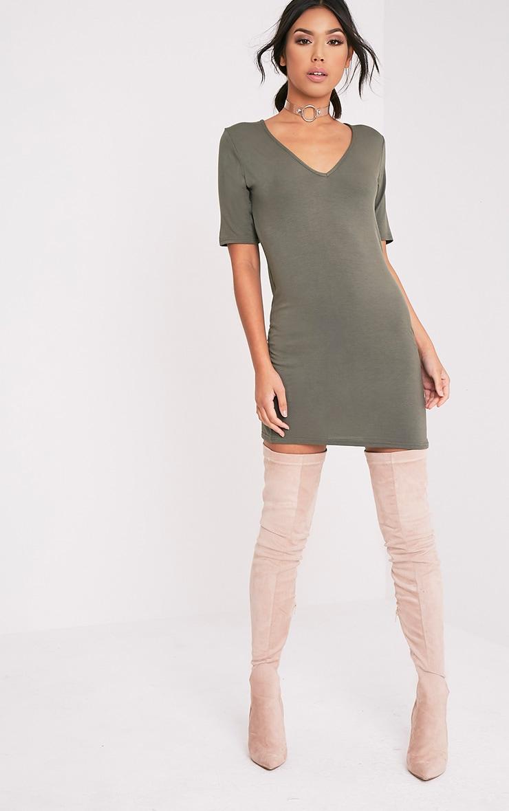 Basic Khaki Plunge V Neck T Shirt Dress 5