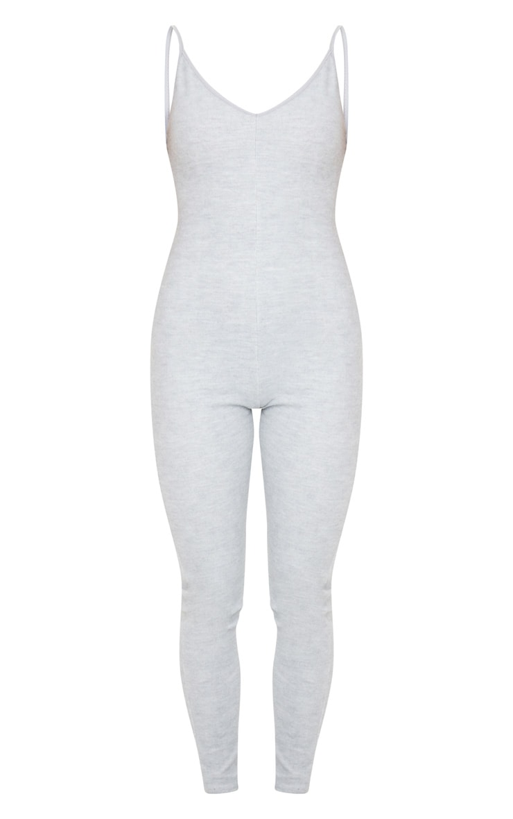 Grey Soft Fleece Strappy Plunge Jumpsuit 5