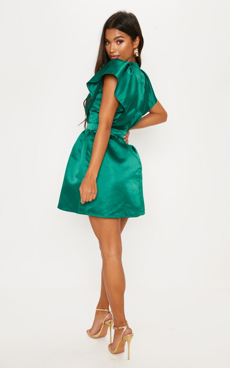 Emerald Green Satin Ruffle Sleeve Skater Dress 2