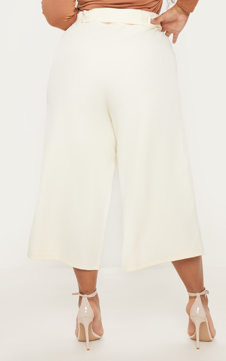 Plus Cream Pocket Detail Belted Culottes  4