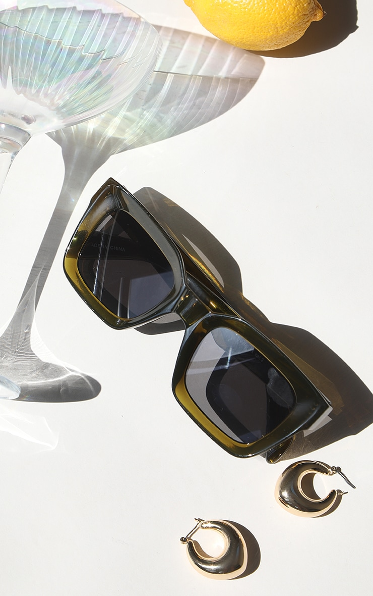 Brown Square Frame Oversized Sunglasses image 1