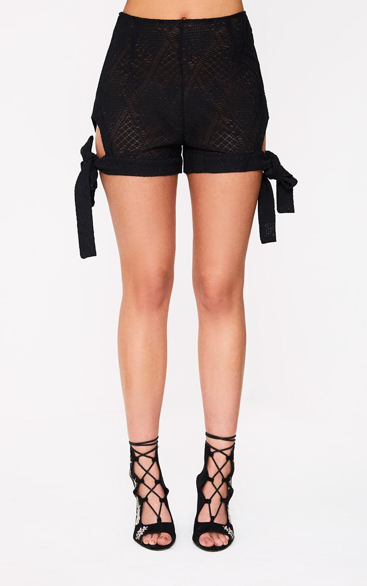 Black Cut Out Tie Hem Shorts 5