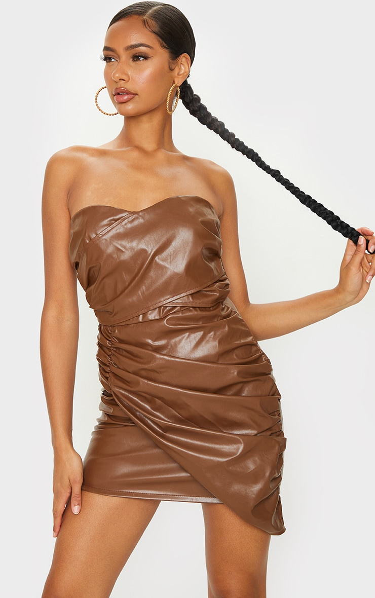 Chocolate Faux Leather Ruched Drape Bandeau Bodycon Dress