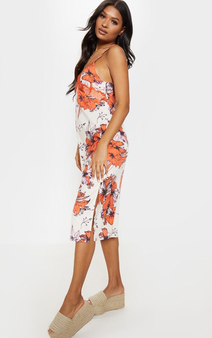 Orange Lace Trim Tropical Print Midi Shift Dress 5