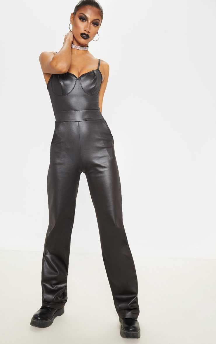 Tall Black Wide Leg PU Flared Trouser 1