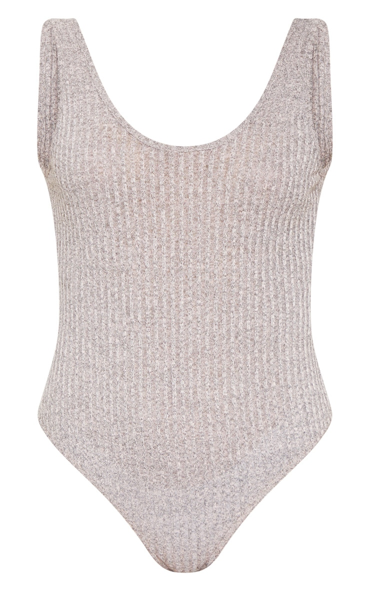 Stone Ribbed Knitted Scoop Neck Bodysuit 3