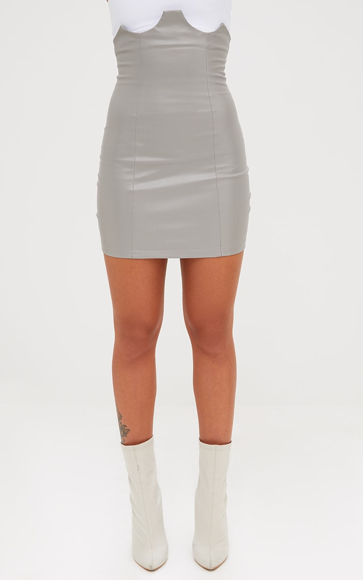 Grey Faux Leather Bustier Skirt 2