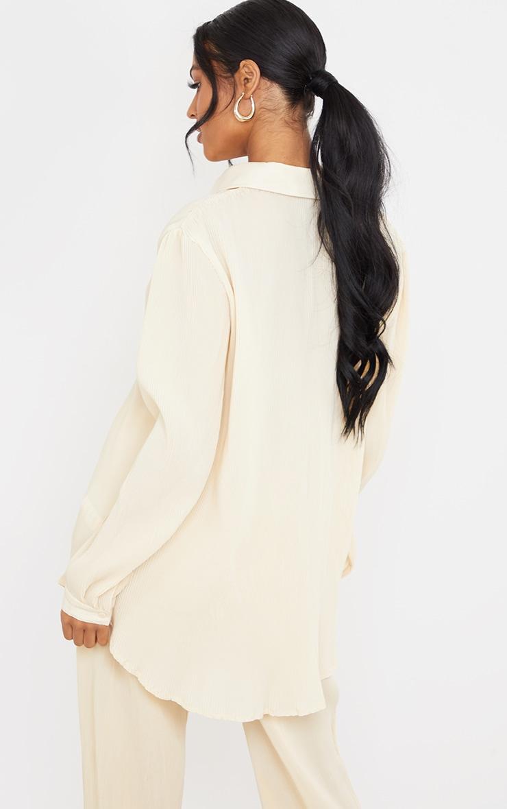 Tall  Cream Plisse Oversized Cuff Detail Shirt 2