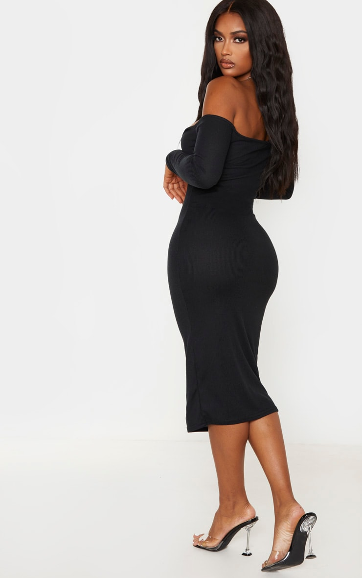 Shape Black Rib Bardot V Neck Midi Dress 2