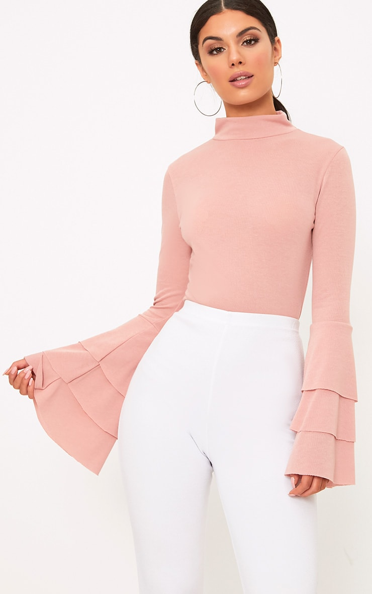 Pink Knit Ruffle Sleeve Jumper 1