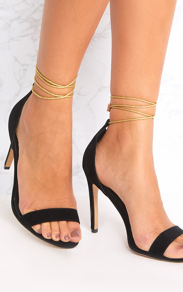 Black Knotted Strappy Heels 1