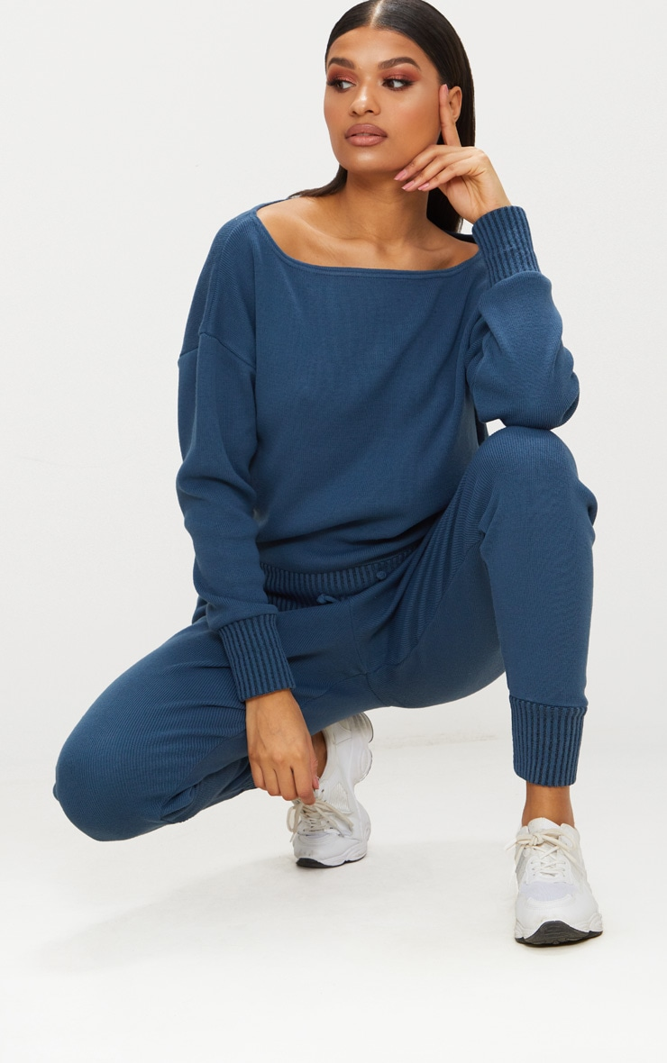 Charcoal Blue Jogger Knitted Lounge Set 4