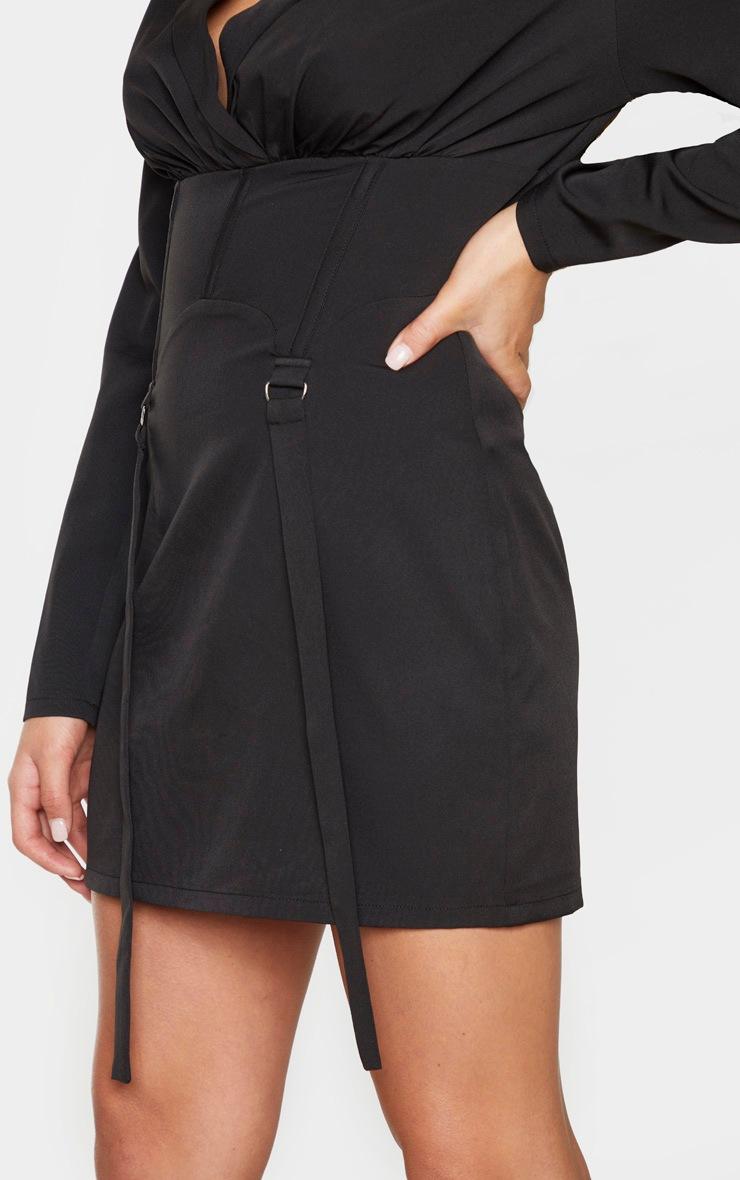 Black Corset Detail Long Sleeve Blazer Style Bodycon Dress 4