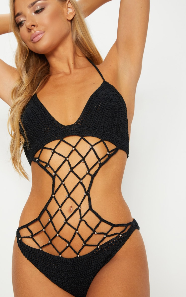 Black Crochet Beaded Swimsuit 6