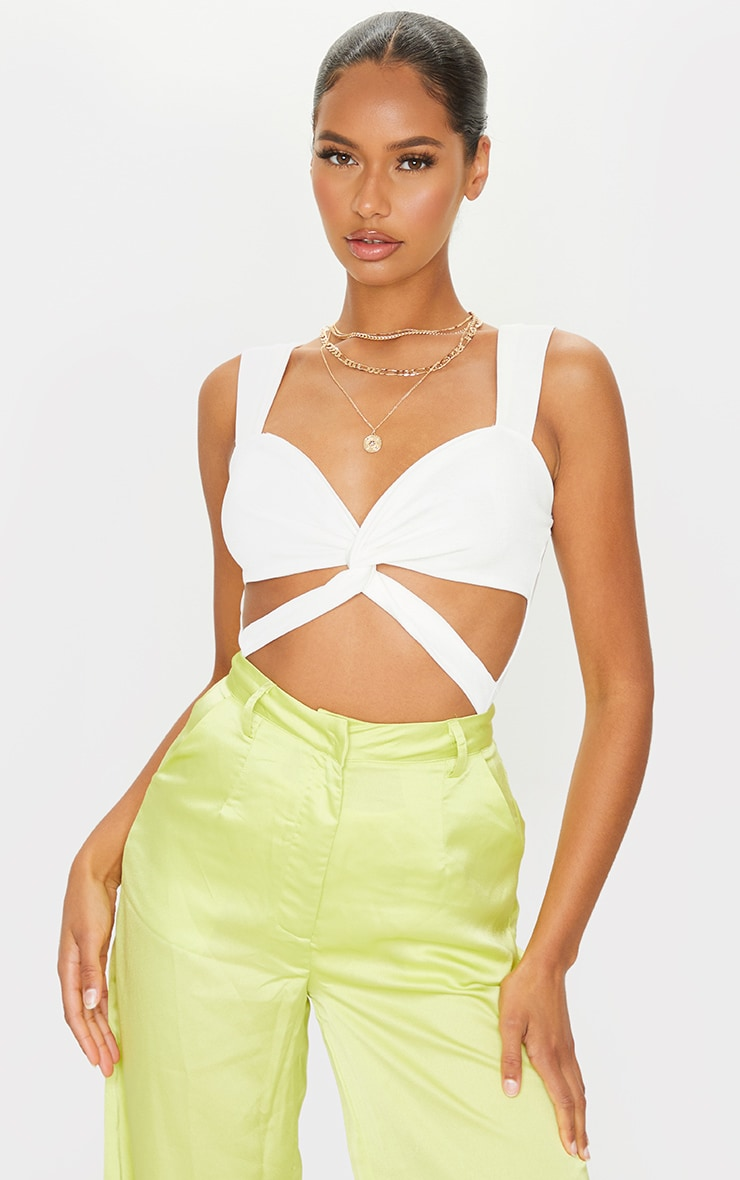 Cream Acetate Slinky Twist Knot Detail Ruched Cut Out Bodysuit 1