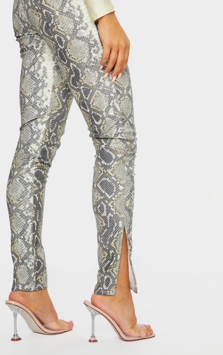 Legging en similicuir noir imprimé serpent à détail fendu 4