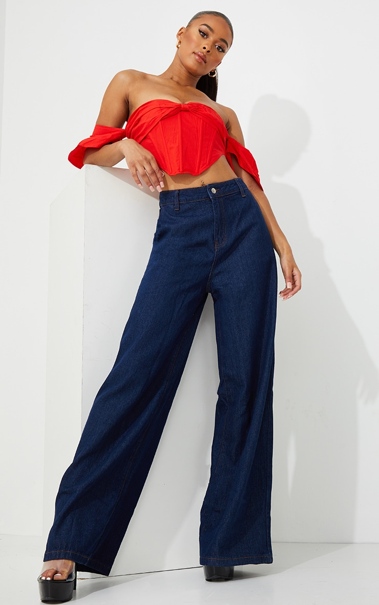 Indigo Wash Wide Leg Jeans 1