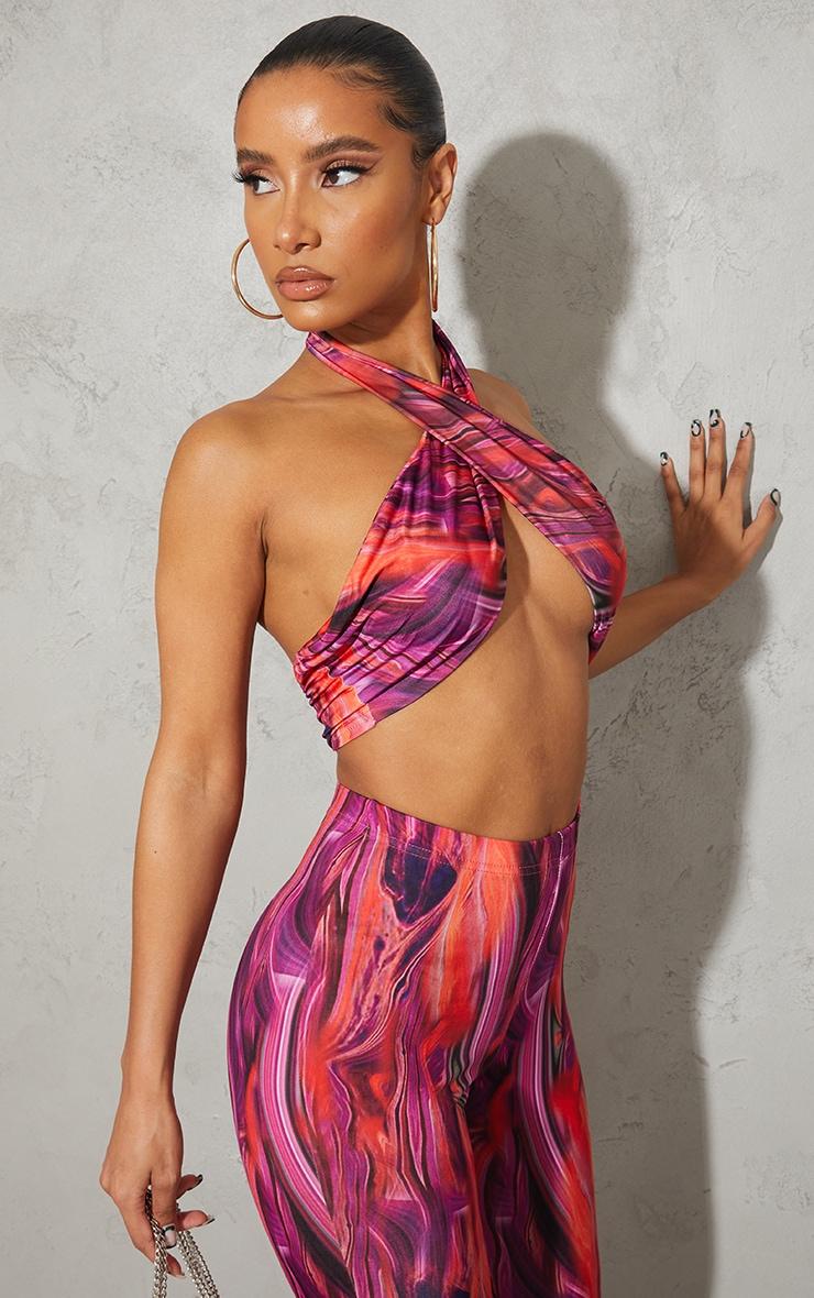 Bright Pink Abstract Print Slinky Cross Halterneck Underbust Bralet image 1