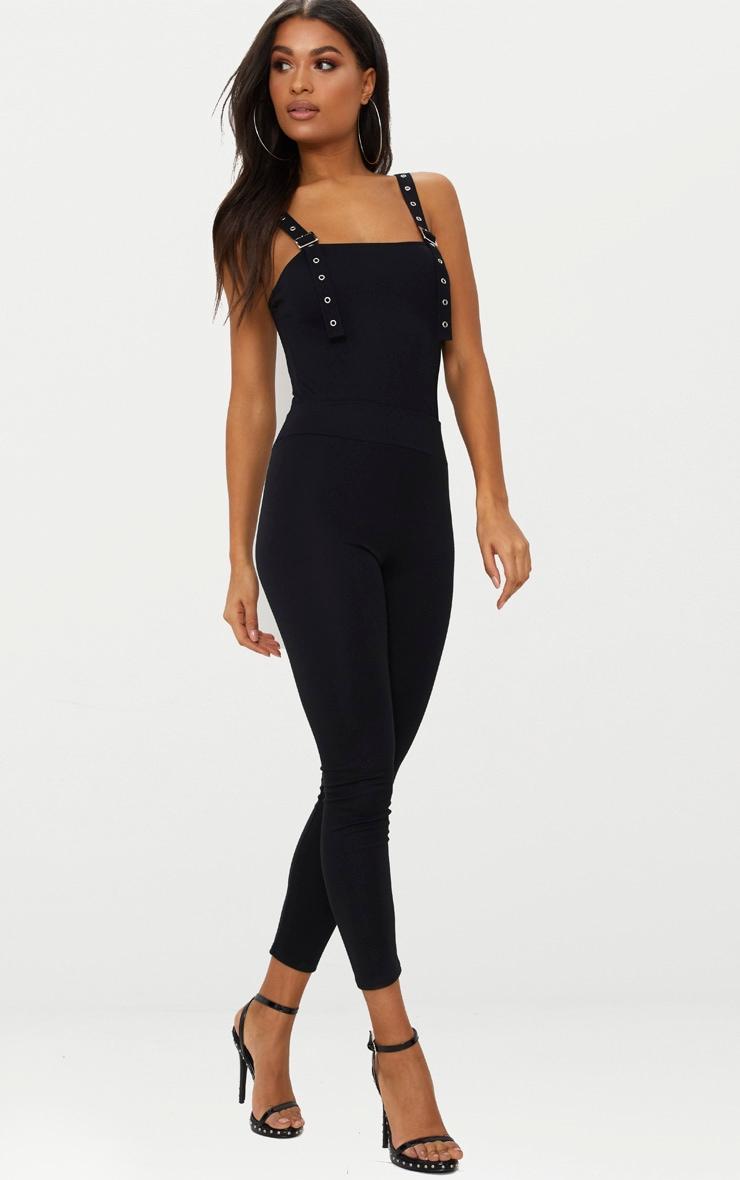 Black Buckle Strap Thong Bodysuit 5