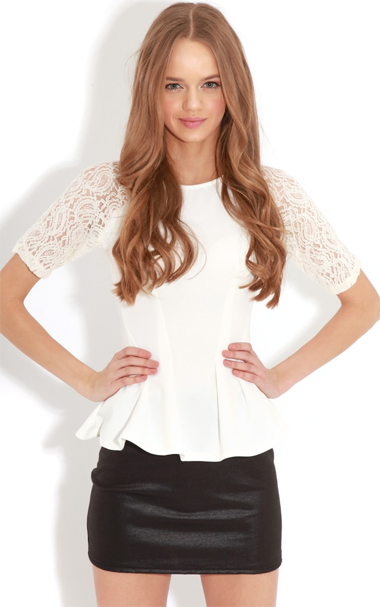 Tamia Cream Peplum Top With Lace Capped Sleeves 4