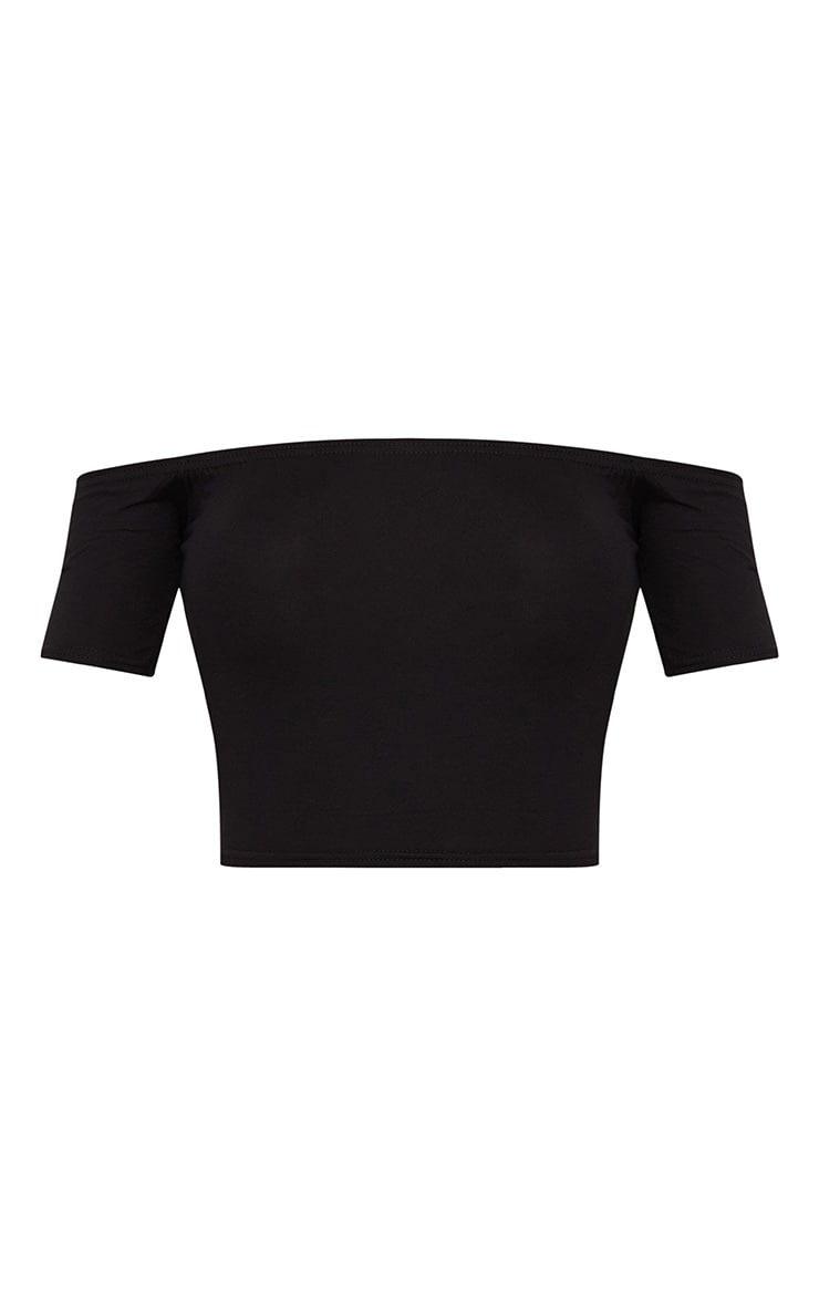 Basic Black Bardot Crop Top 3