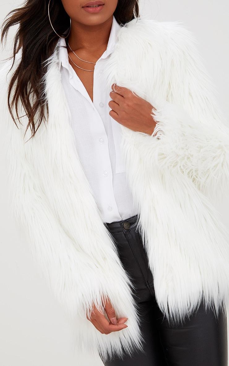 Cream Shaggy Faux Fur Jacket 5