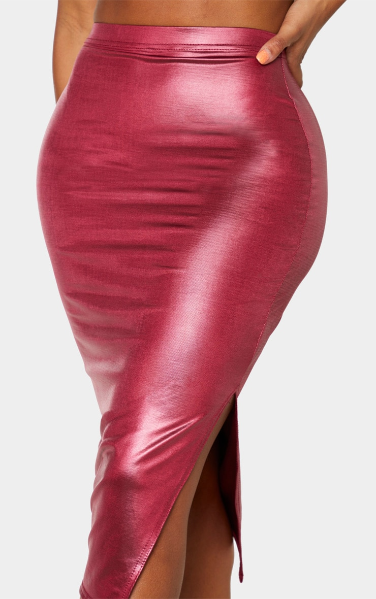 Shape Burgundy Metallic Slinky Slit Front Midi Skirt 5