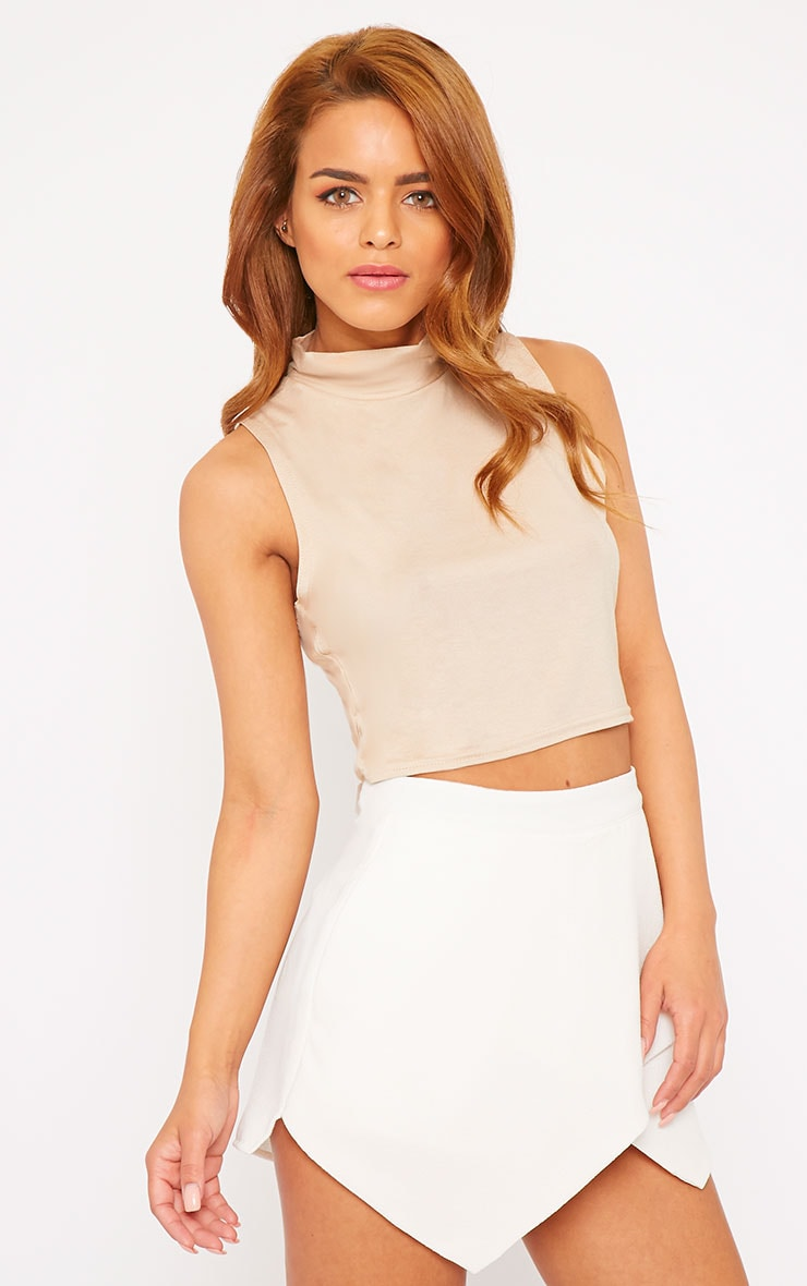 Basic Stone Jersey High Neck Crop Top 1