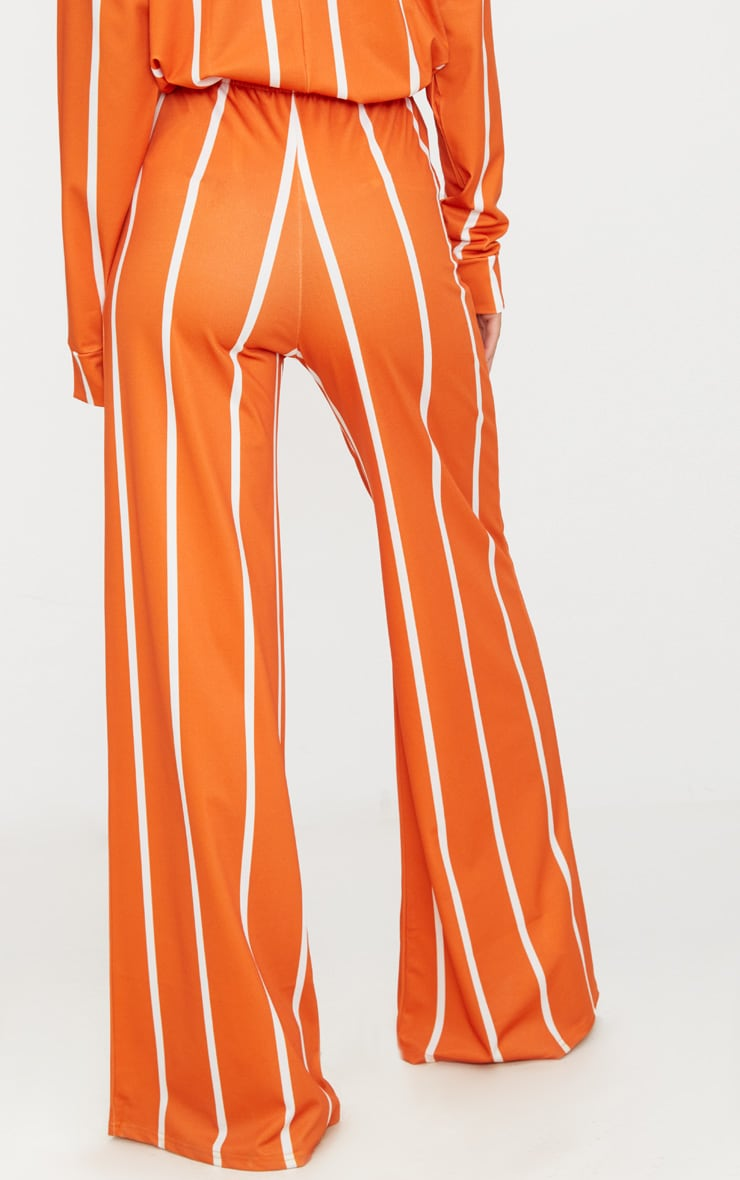 Orange Stripe Jersey Wide Leg Pants 5