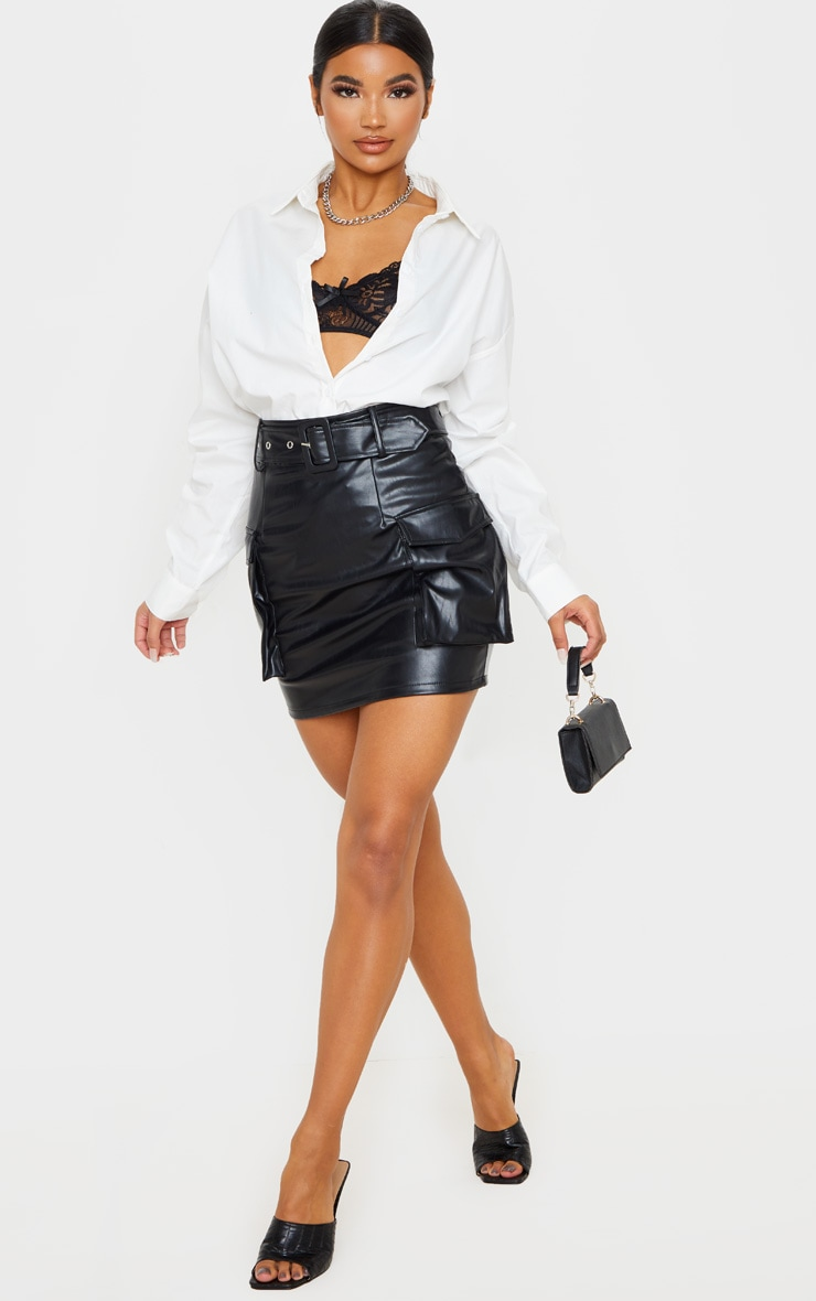 Black Faux Leather Belted Cargo Pocket Mini Skirt 1