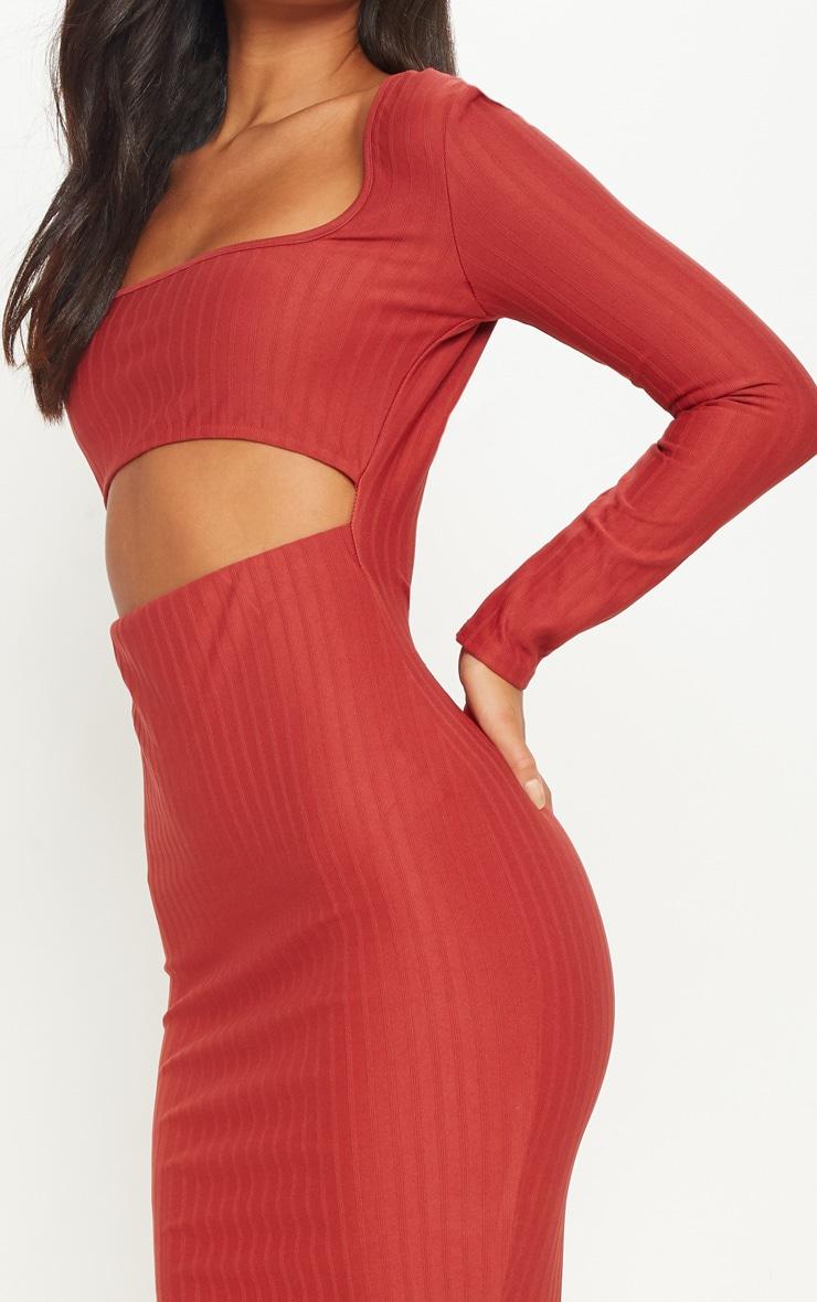 Rust Bandage Long Sleeve Cut Out Midaxi Dress  3