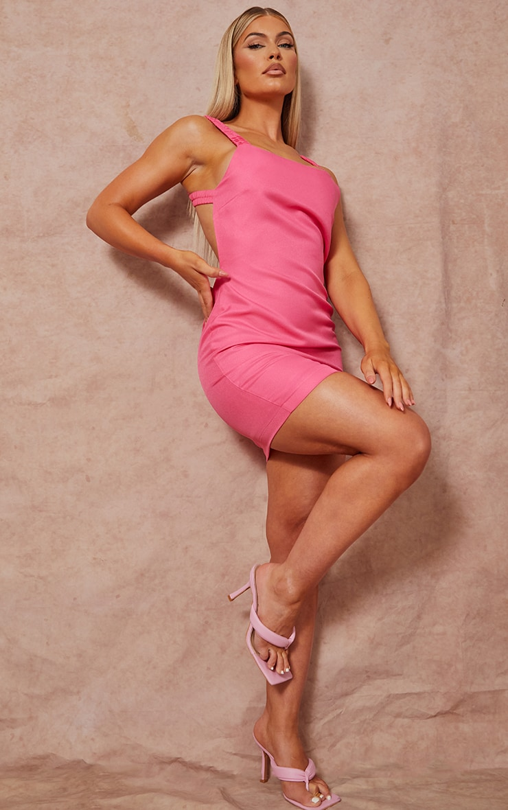 Bright Pink Woven Open Back Dress 3