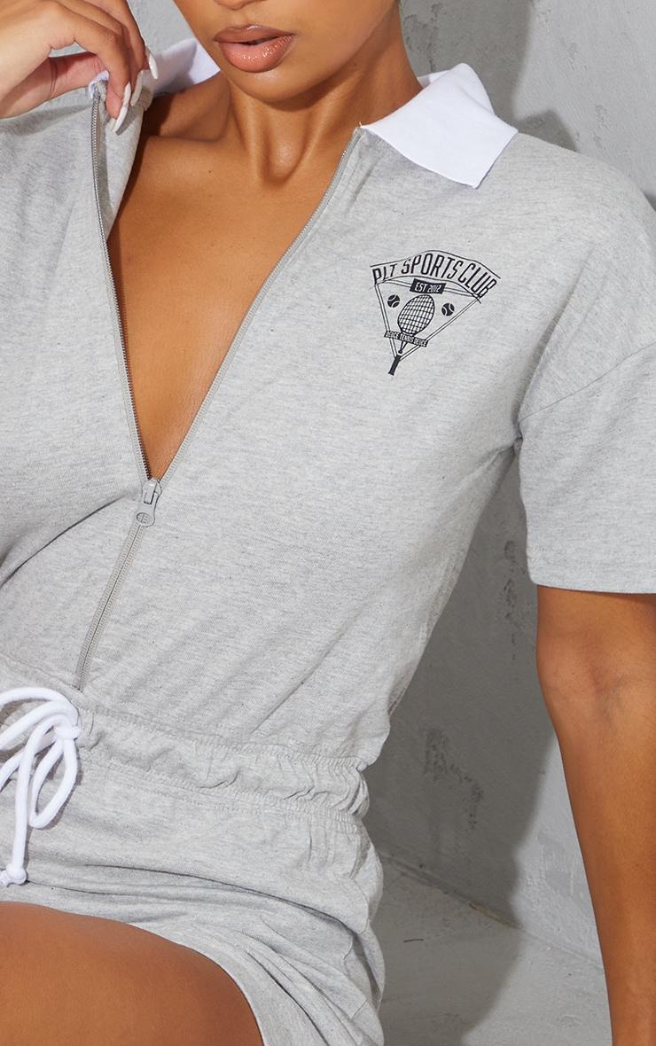 Grey Marl Sports Club Zip Detail Romper 4