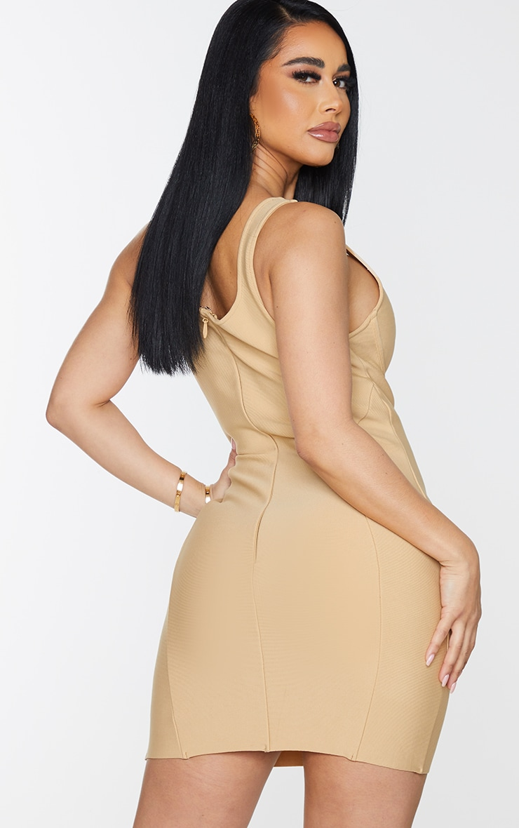 Shape Champagne Bandage Cup Detail Panelled Bodycon Dress 2
