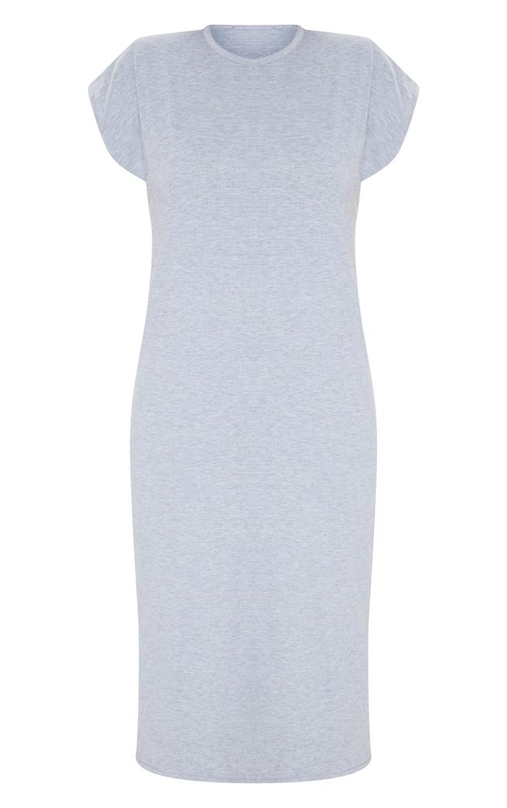 Grey Shoulder Pad Side Split Sleeveless Midi Dress 5