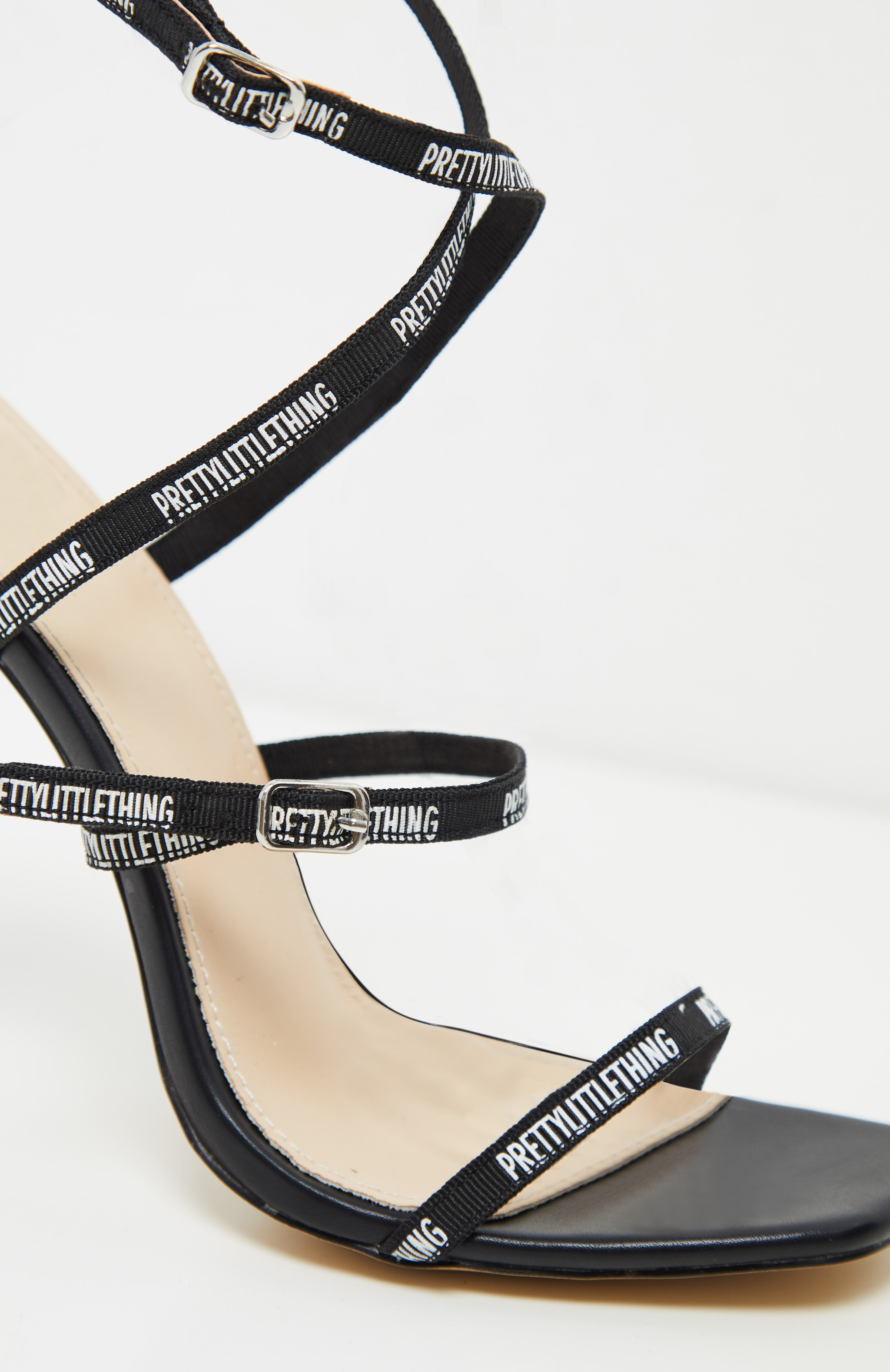 PRETTYLITTLETHING Black Strappy Square Toe Heel 3