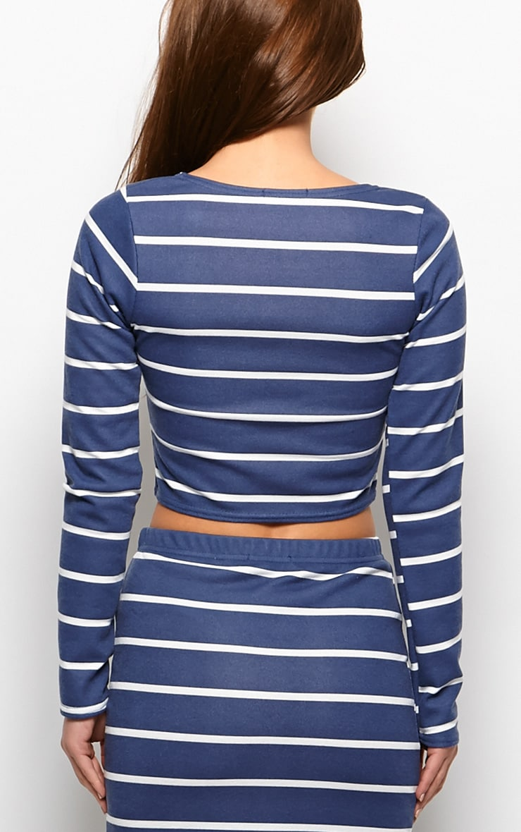 Kennedy Blue Premium Striped Crop Top  2